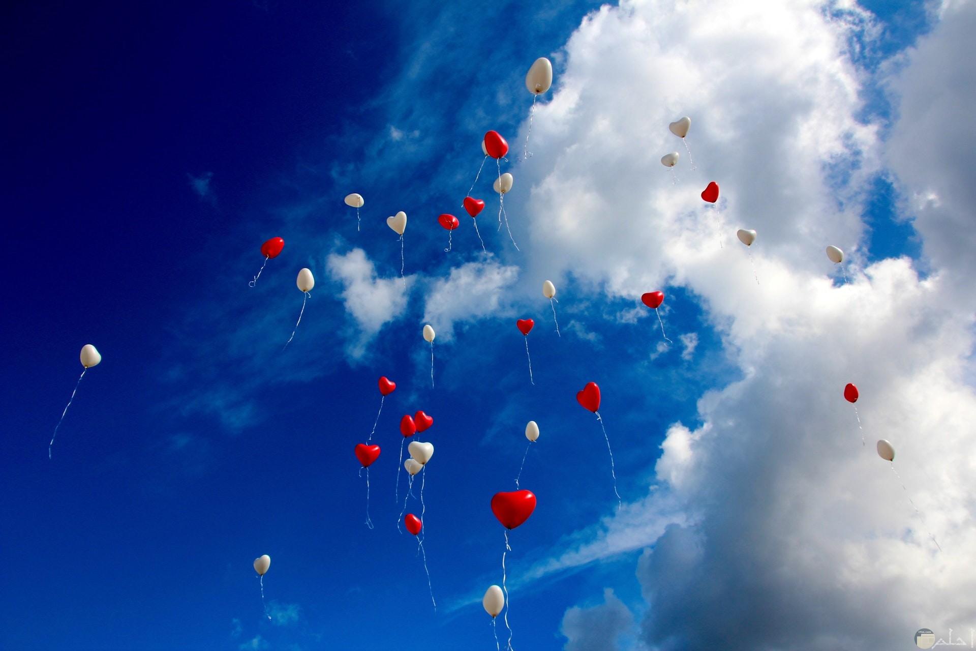 صورة مميزة لبالونات علي شكل قلوب حمراء وبيضاء تطير بالسماء