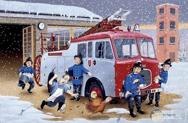 صورة مميزة لرسمة أحد الرسامين لرجال الإطفاء وسيارتهم ورجل يجري وراء دجاجة وسط هطول الثلوج