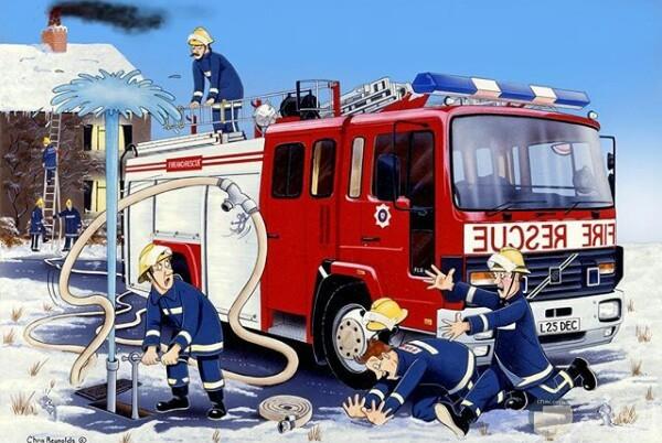 صورة مميزة لرسمة أحد الرسامين لرجال الإطفاء وسيارتهم ومشكلة في خرطوم المياة