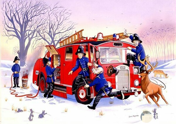 صورة مميزة لرسمة لأحد الرسامين فيها رجال الإطفاء وسيارتهم وغزال وأرانب ومشكلة في خرطوم المياة