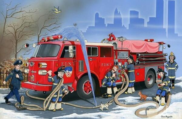 صورة مميزة لرسمة لأحد الرسامين فيها رجال الإطفاء وسيارتهم ومشكلة في تسرب المياة من الخرطوم
