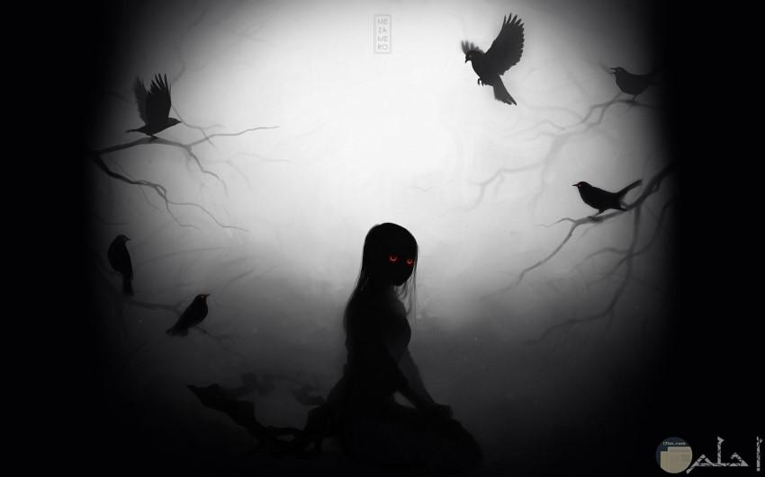 فتاة حزينة مرعوبة