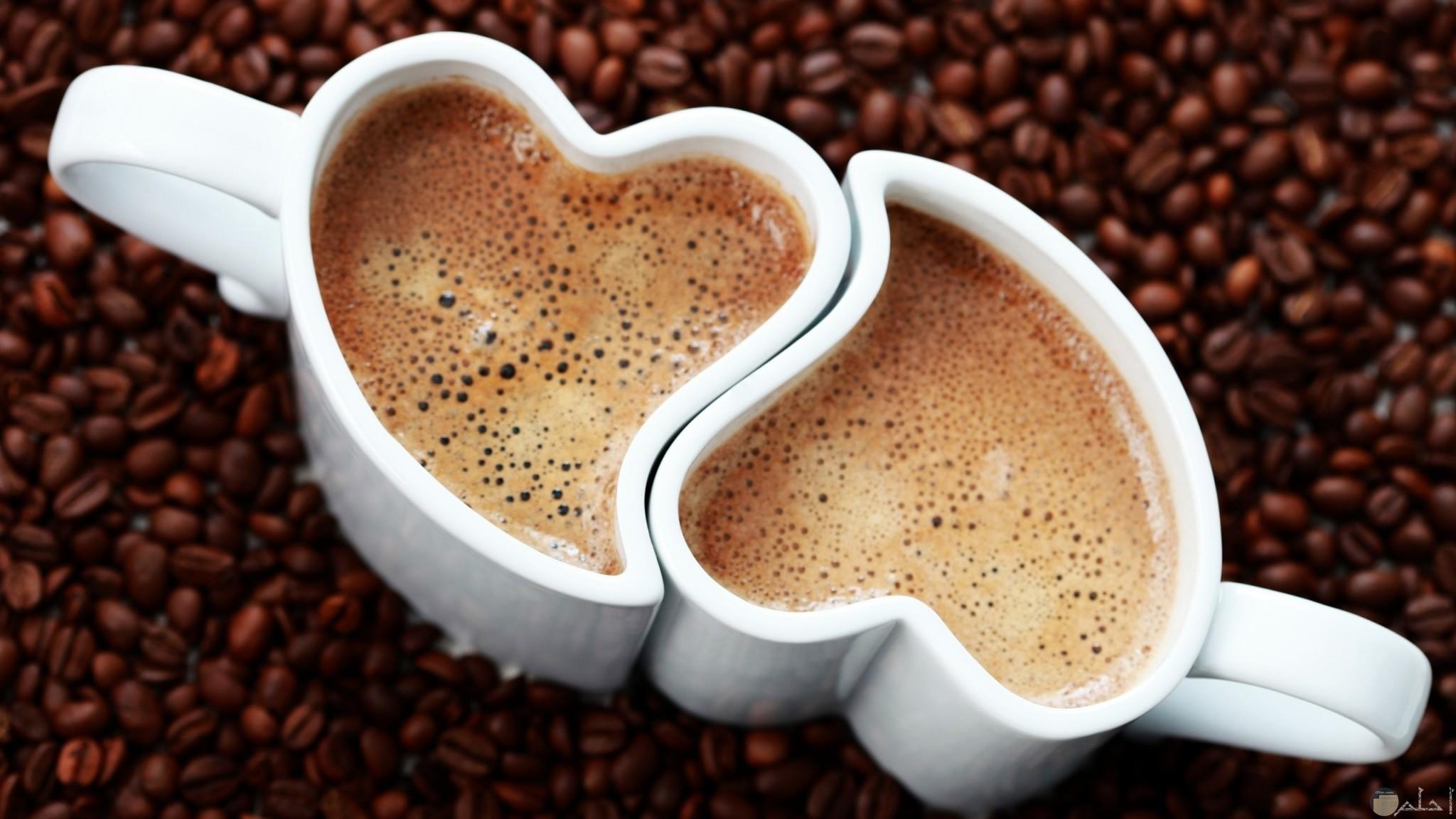 مجين بهم قهوه لون ابيض رسمه قلوب