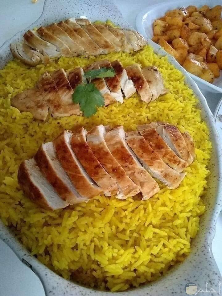 ارز بسمتي مع لحم قطع