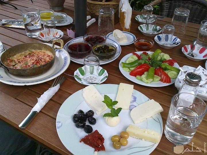 فطور جبنه وزبد وزيتون وطماطم وخيار ومربي وعسل وبيض ولحم متبل