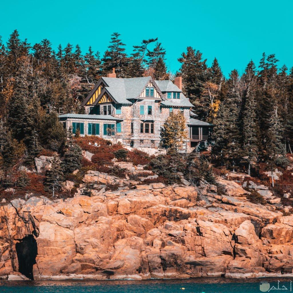 صورة بيت وسط الاشجار والصخور