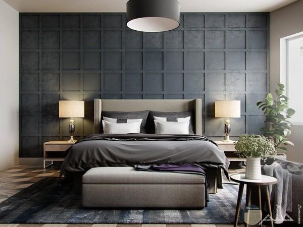 ديكور مربعات سوداء بالحائط وراء الفراش