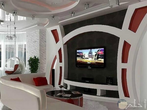 ديكور مميز بارز لشاشة التليفزيون بألوان رائعة