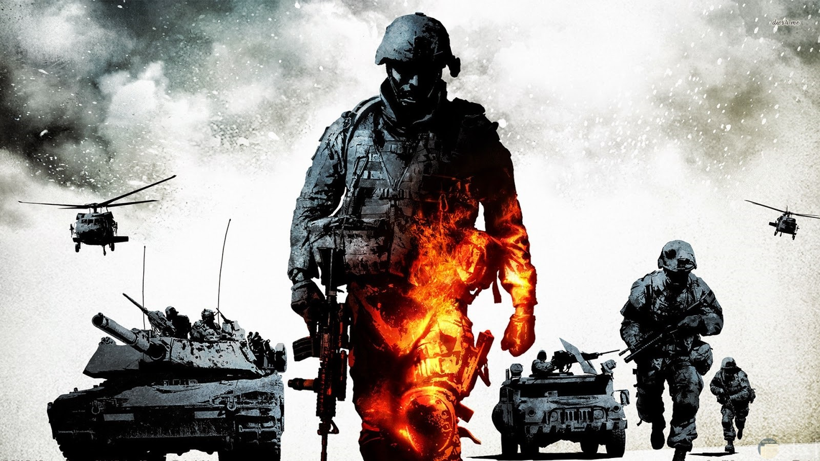 رجل جندي يرتدي خوزه وبيده بندقيه او رشاش ويرتدي لبس الجندي ويظهر علي رجله اليسري شئ يشبه النيران وورائه مدرعه وطيارات وجنود