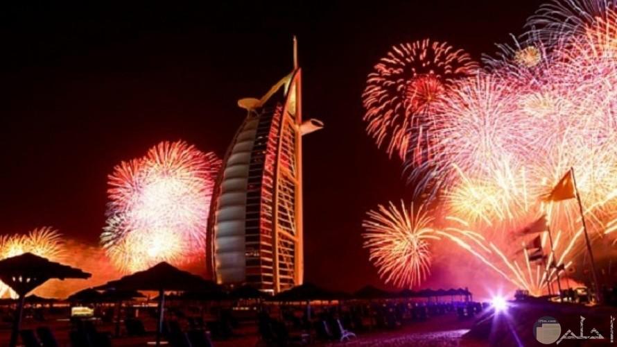 برج العرب بالالعاب النارية