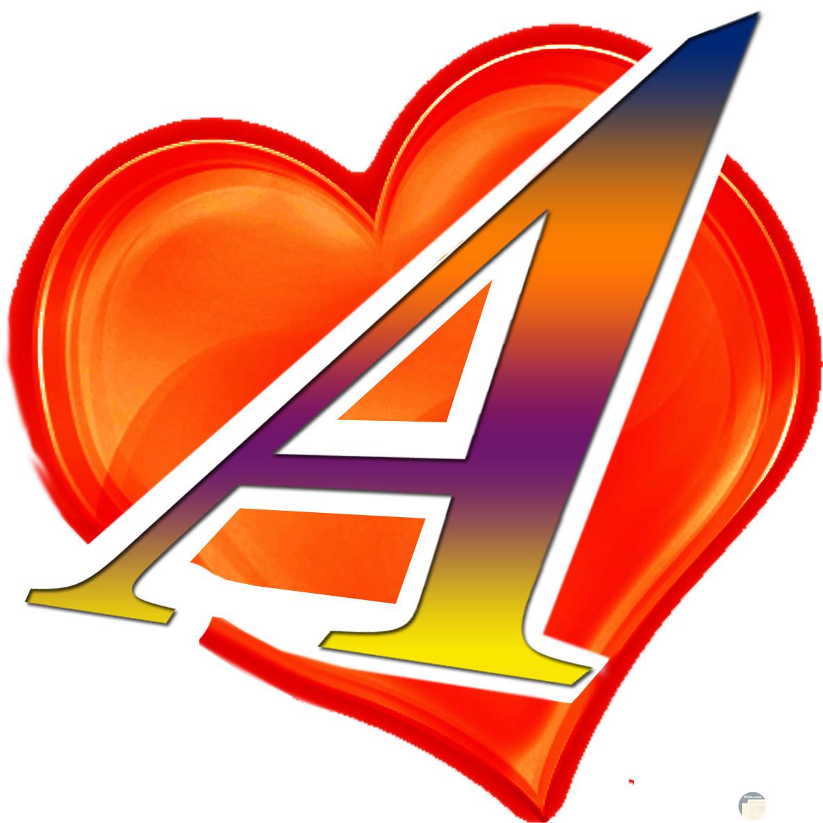حرف A داخل قلب أحمر