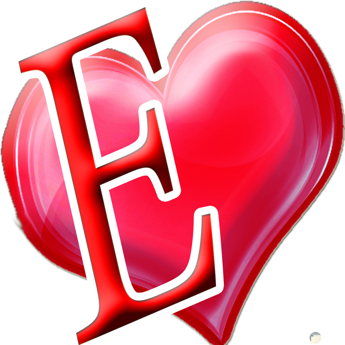 حرف E داخل قلب احمر جميل