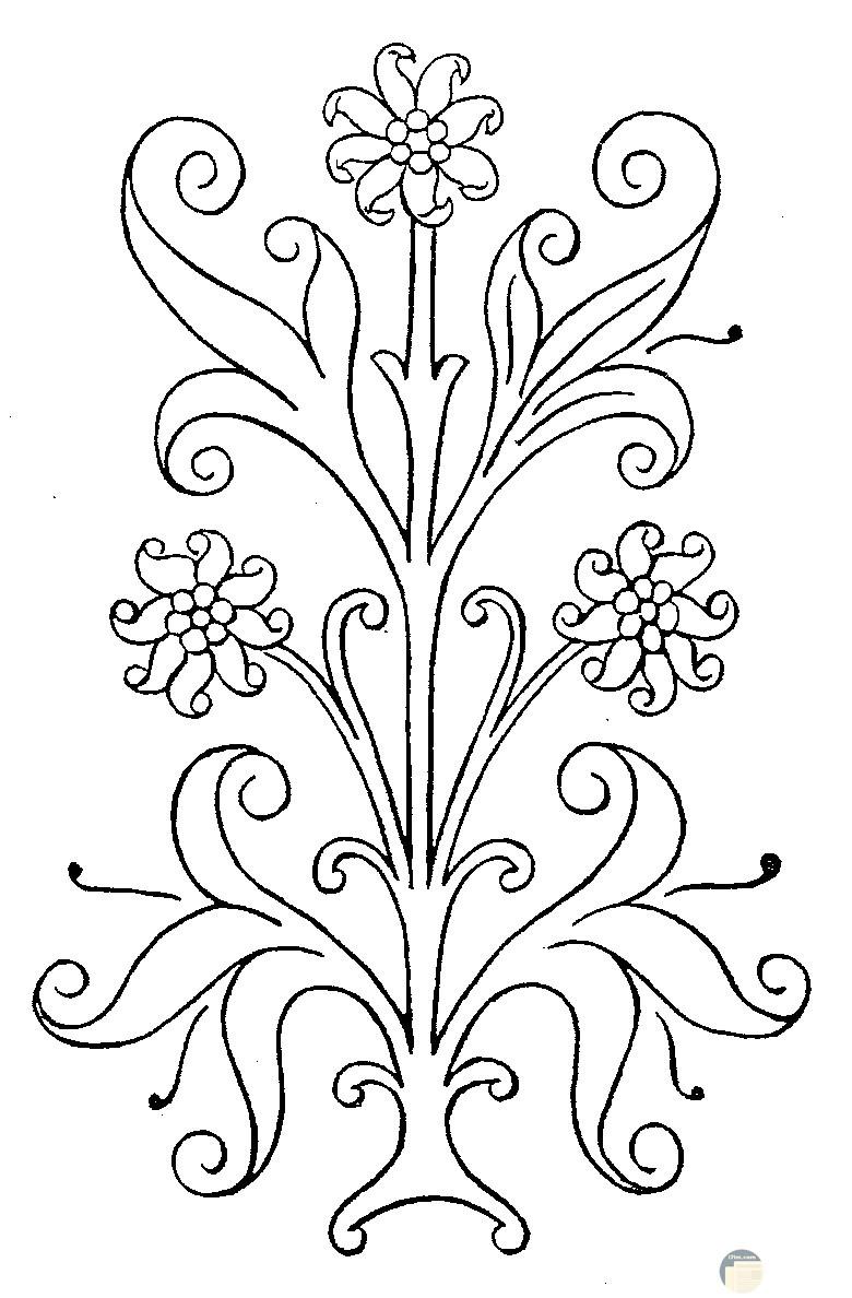 رسمة تطريز زهور
