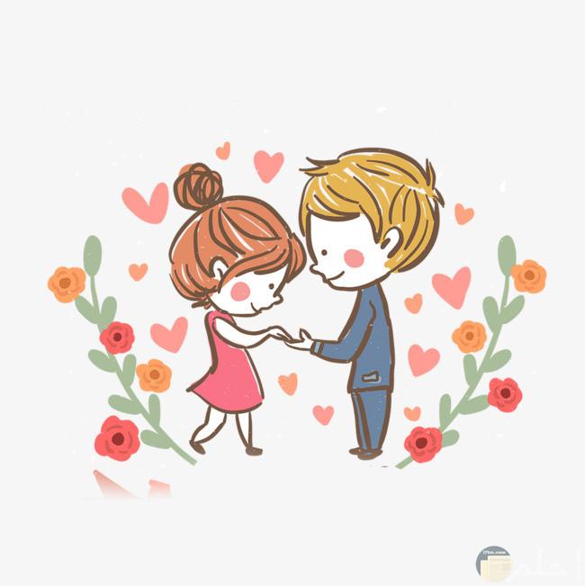 صورة حب مع الزهور