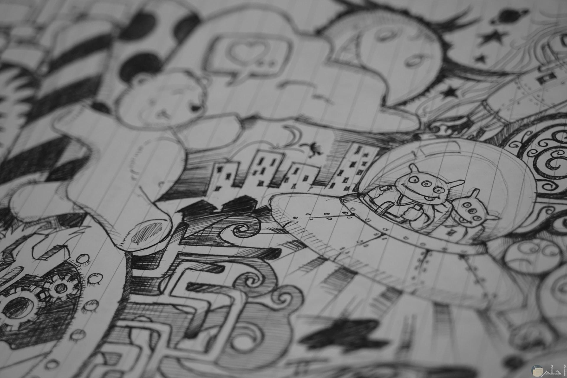 رسومات كرتونية جميلة بالرصاص