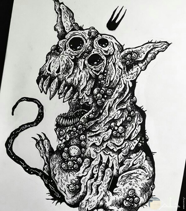 صورة مرسومة ابيض واسود لحيوان غريب