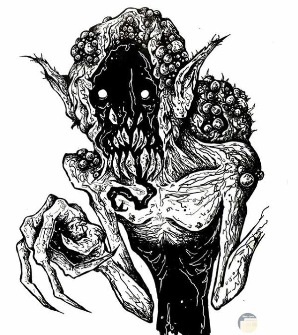 صورة رسمة مخيفة لأحد الرسامين عبارة عن شخص بجسم مرعب مع رأس تخوف