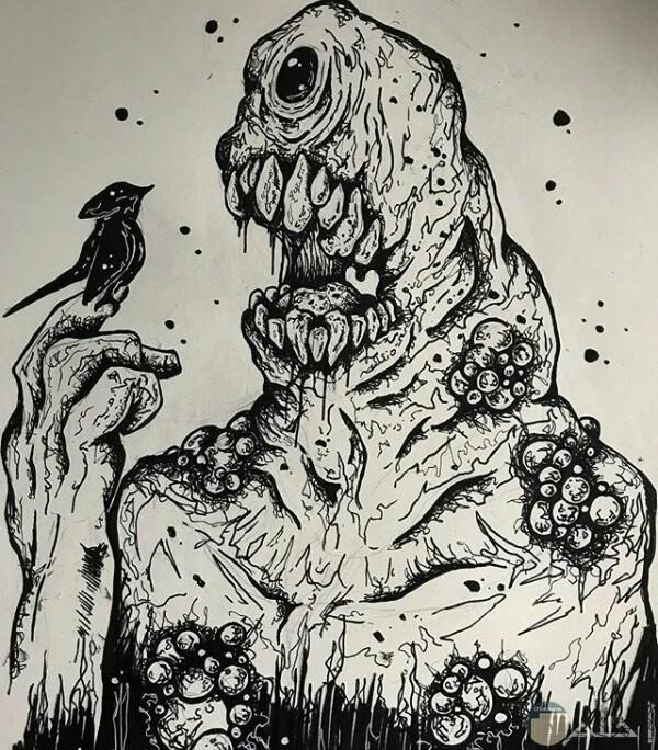 صورة رسمة مخيفة لأحد الرسامين عبارة عن كائن ضخم مرعب بجسم غريب يحمل عصفور علي يديه