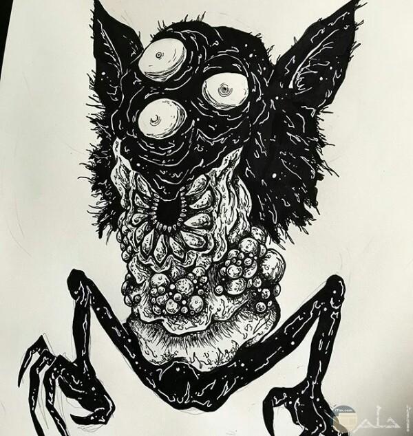 صورة رسمة مخيفة لأحد الرسامين عبارة عن كائن غريب بثلاث عيون وجسم مرعب