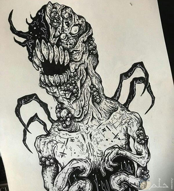 صورة رسمة مخيفة لأحد الرسامين عبارة عن كائن غريب بجسم مرعب جدا ولديه عين واحدة