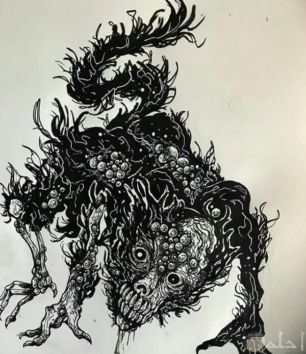 صورة رسمة مخيفة لأحد الرسامين عبارة عن كائن مرعب بجسم غريب وله ذيل