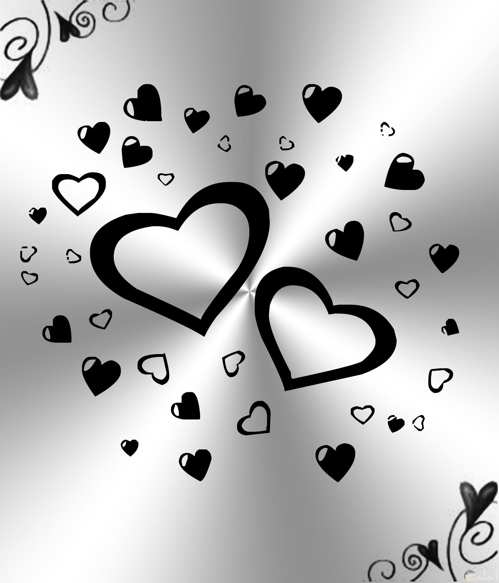 صورة قلوب أبيض وأسود لامعة فضية