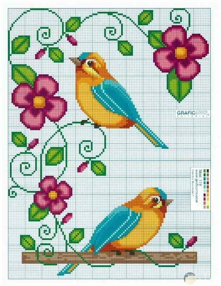 عصافير وزهور للتطريز