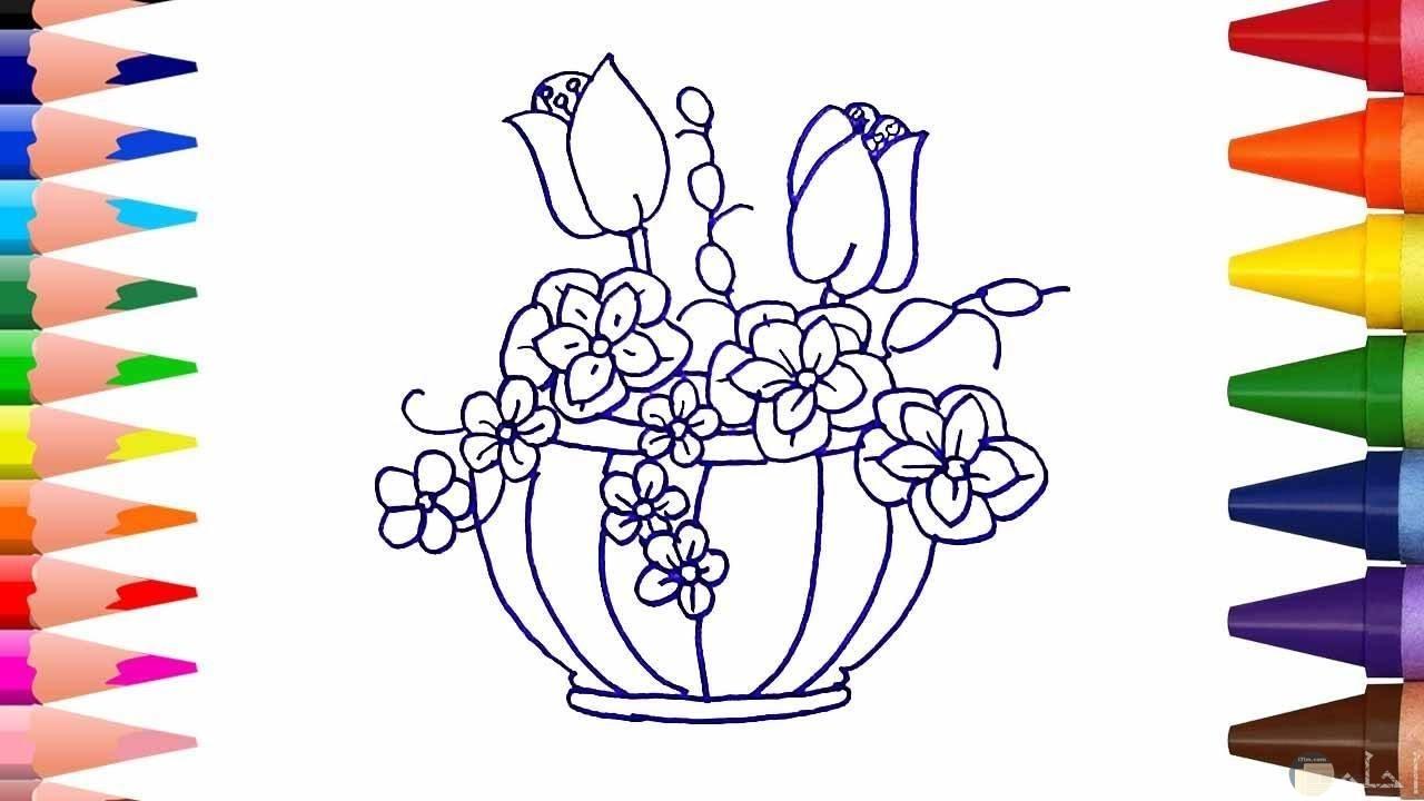 فازة من الزهور مرسومة للتلوين