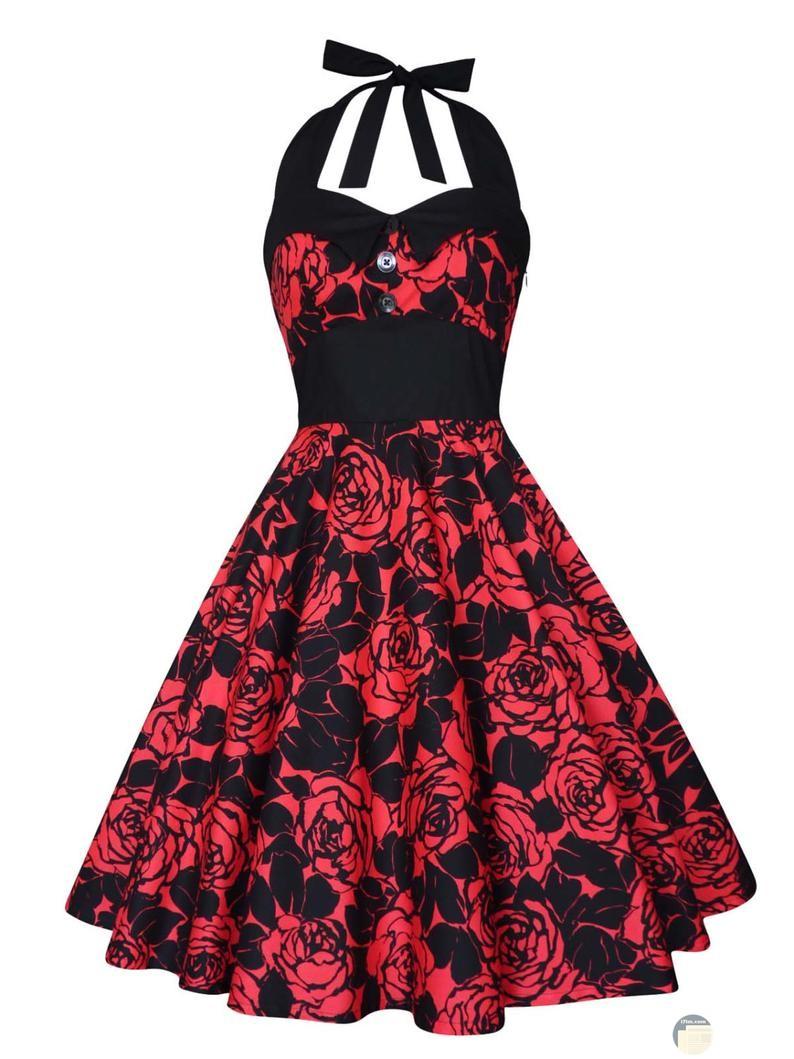 فستان أحمر مع أسود كول مايوه مميز