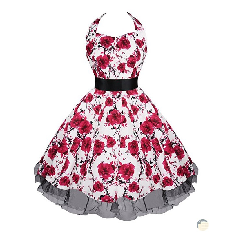 فستان كلاسيك بلون جميل ونقوش الزهور