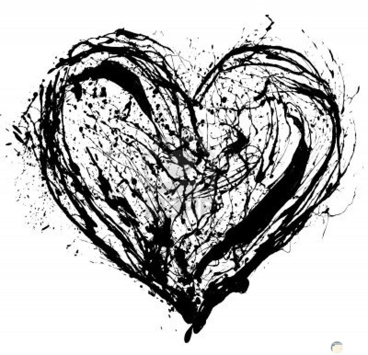 صورة قلب ابيض واسود برتوش الحزن