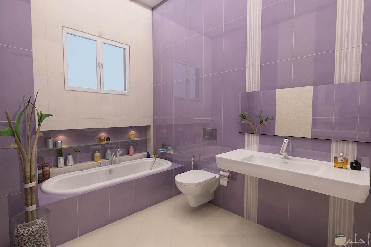 ديكور حمام باللون الموف