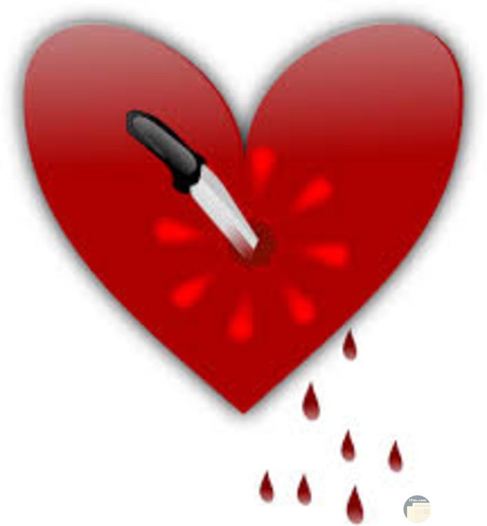 قلب ينزف حزين مطعون بسكين