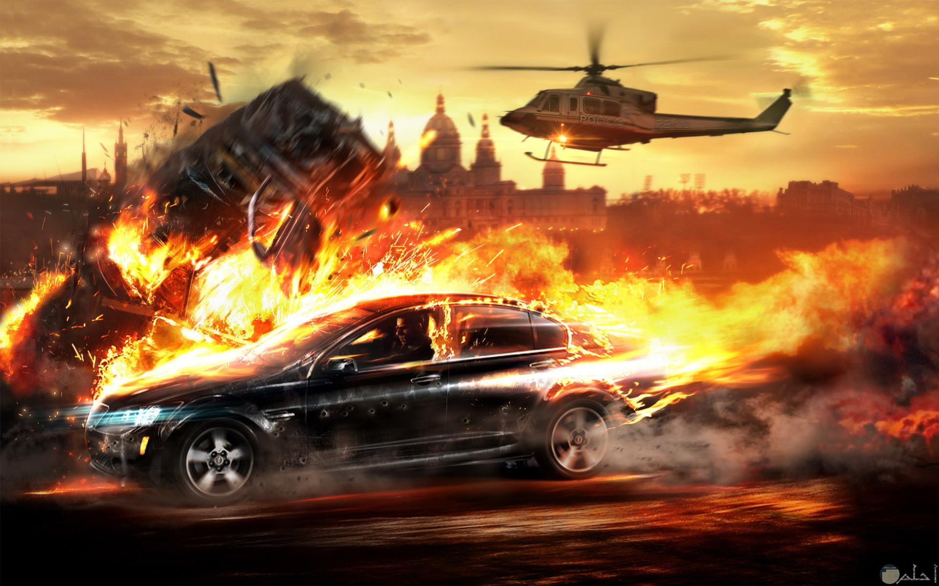 حروب وانفجار سيارة وطائرة هليكوتر