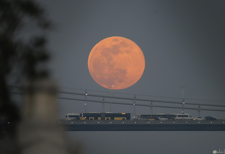 """ظهر """"القمر العملاق"""" في سماء تركيا"""