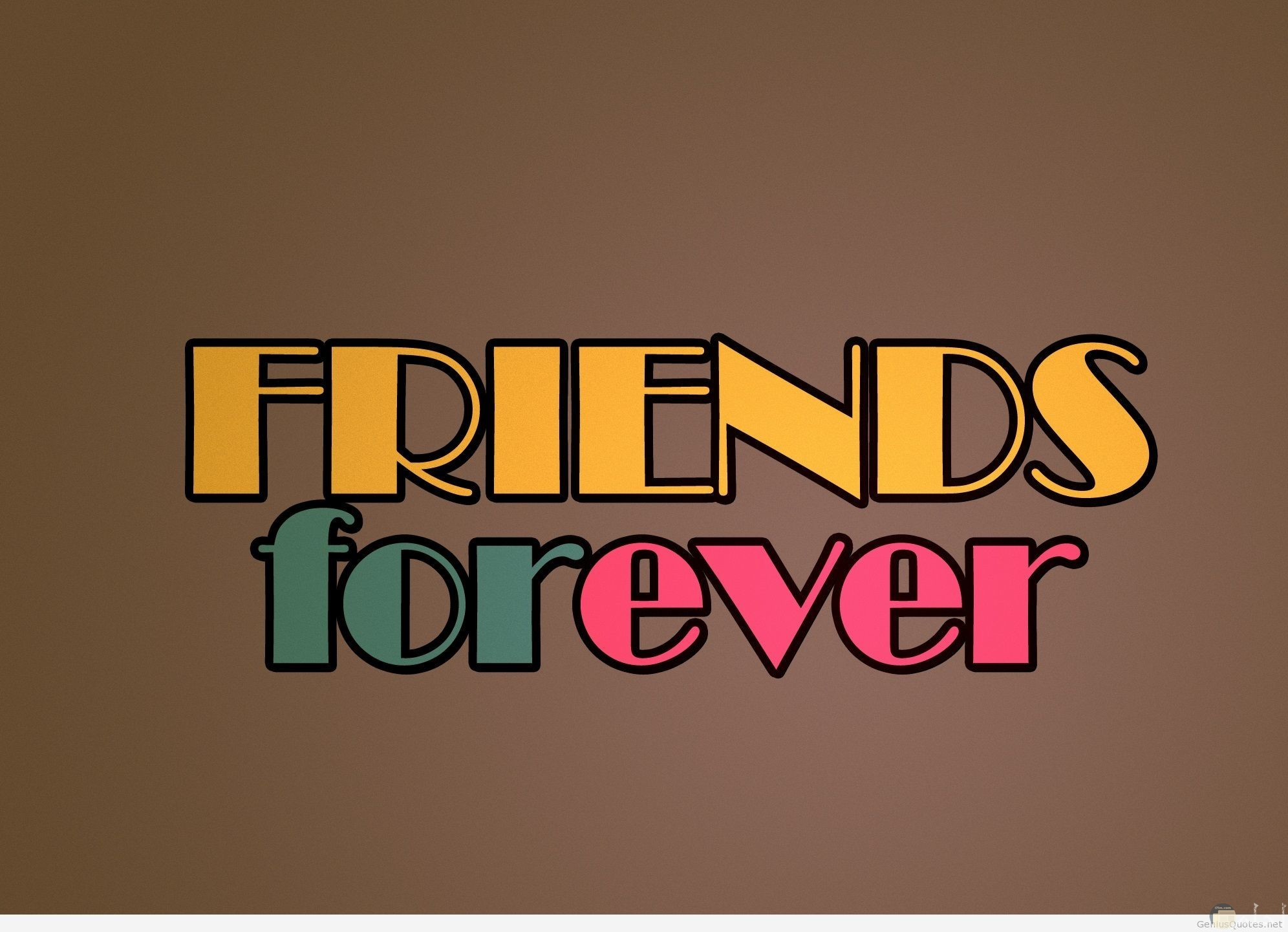 لوجو أصدقاء إلى الأبد بحروف ملونة.