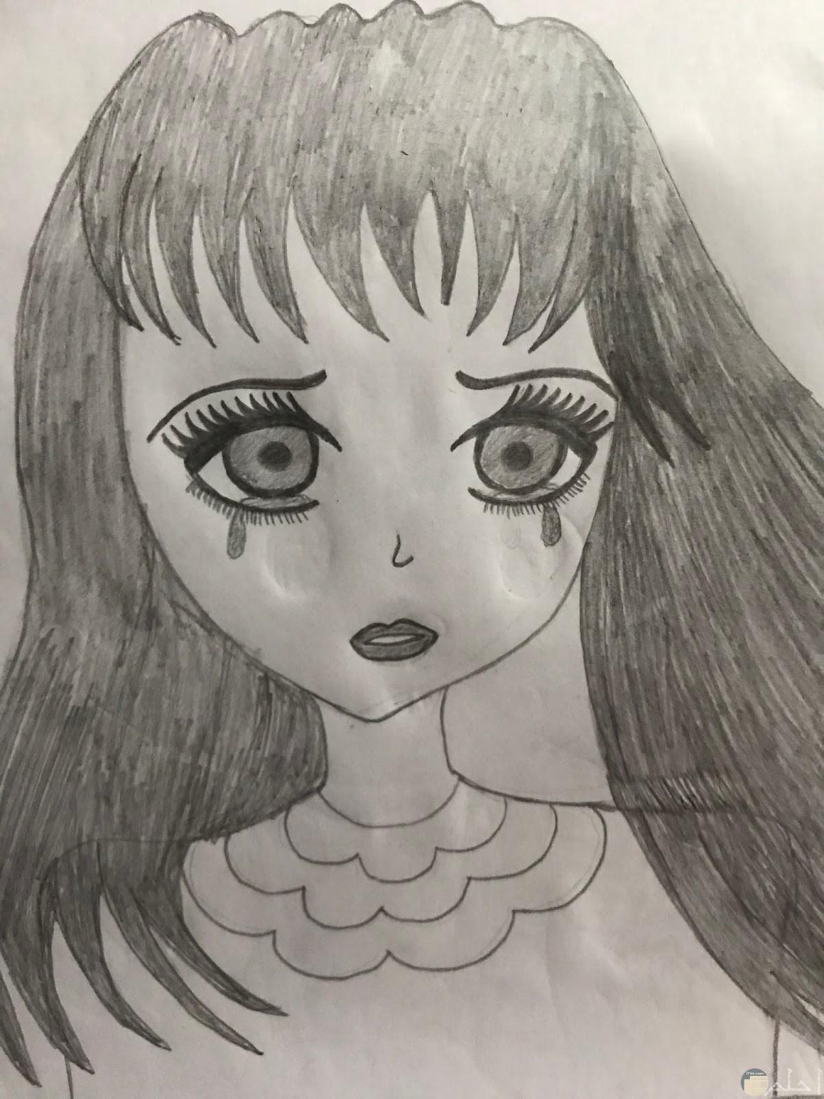 رسمة حزينة لفتاة تبكي