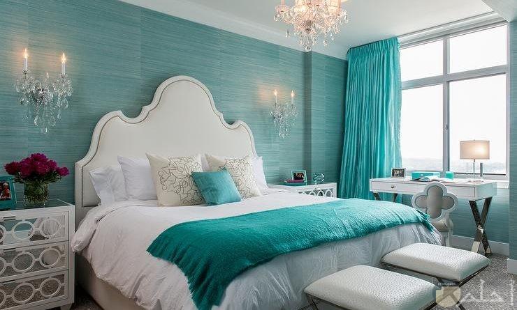 غرفة نوم أبيض وتركواز مودرن