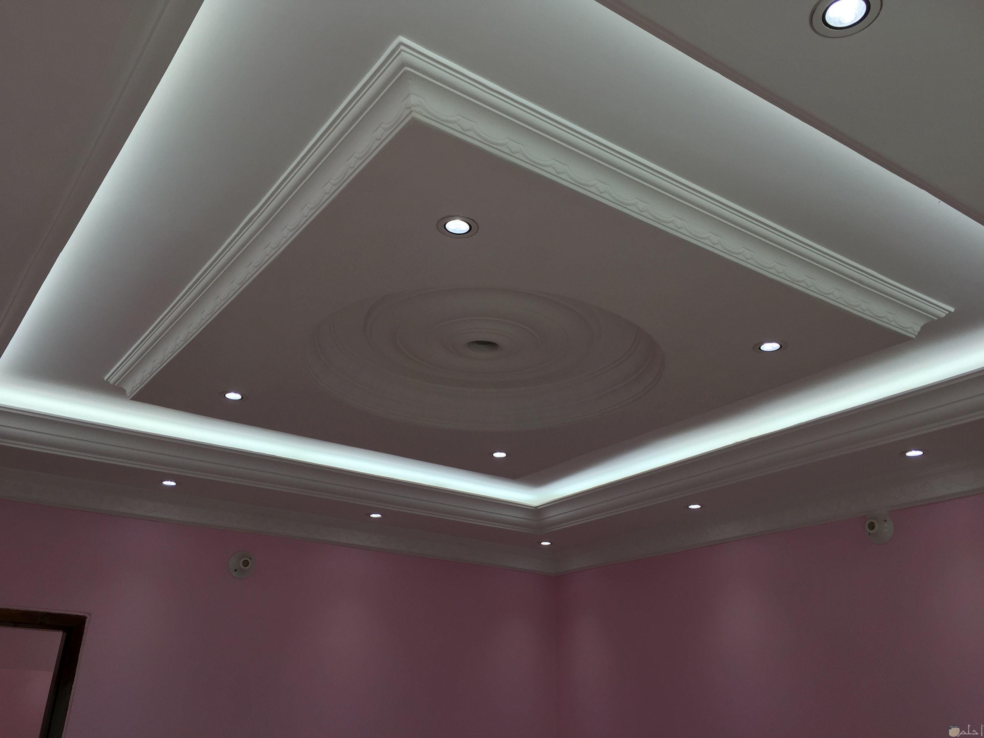 سقف جبس معلق عبارة عن مربع وبه اضاءات بيضاء