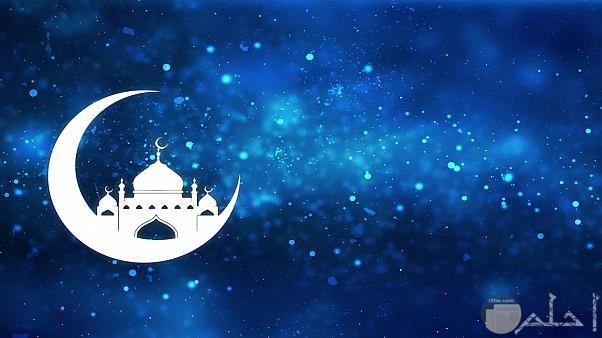 خلفية رمضانية سماء وهلال ومسجد