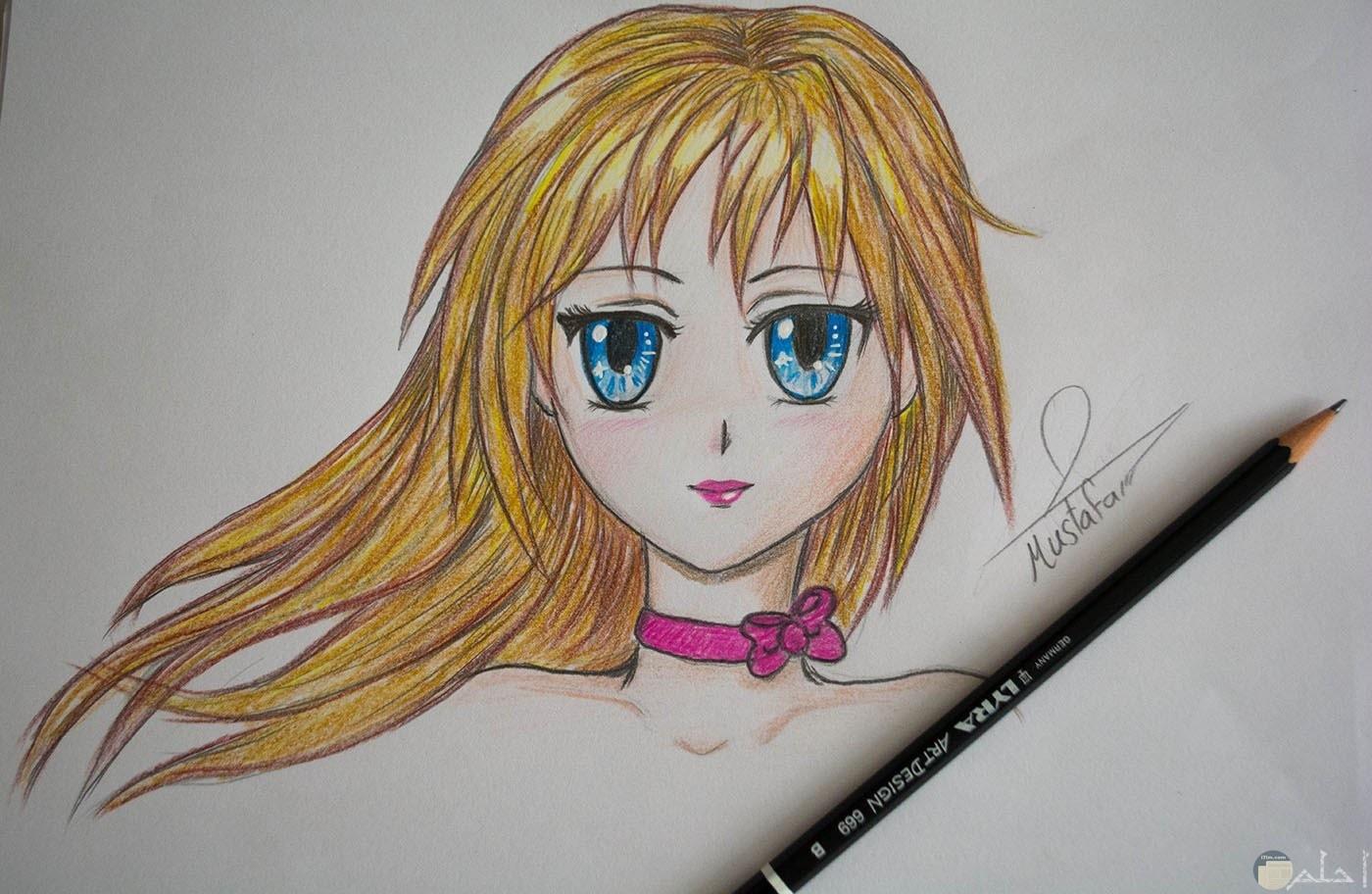 رسم انمي للوجة بالالوان