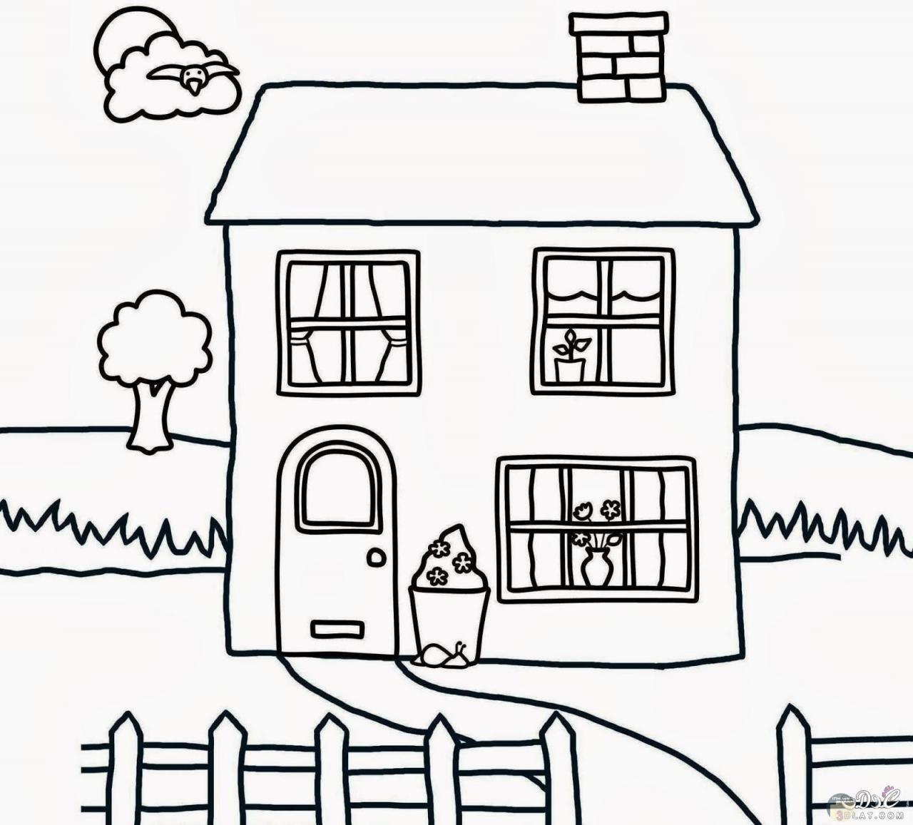 صورة جميلة لبيت مرسوم للتلوين