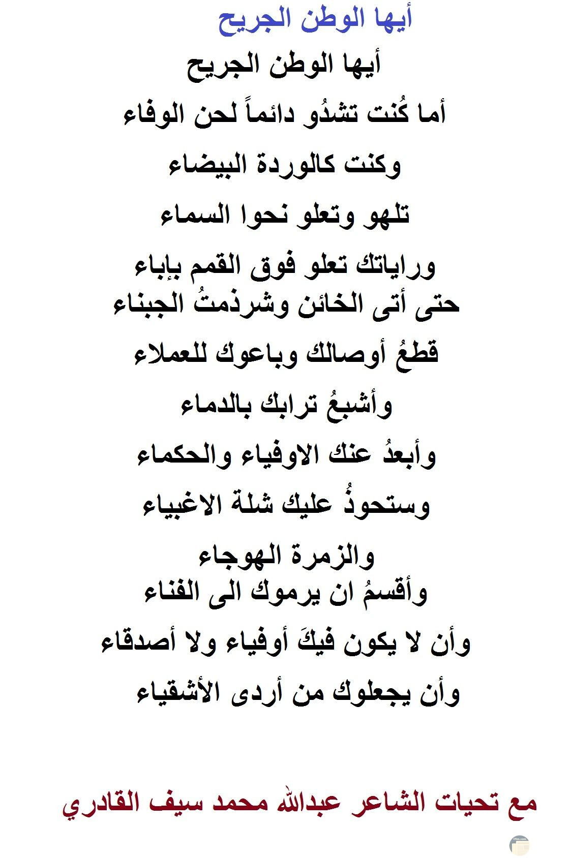 الشاعر عبد الله محمد سيف القادري - شعر أيها الوطن الجريح.