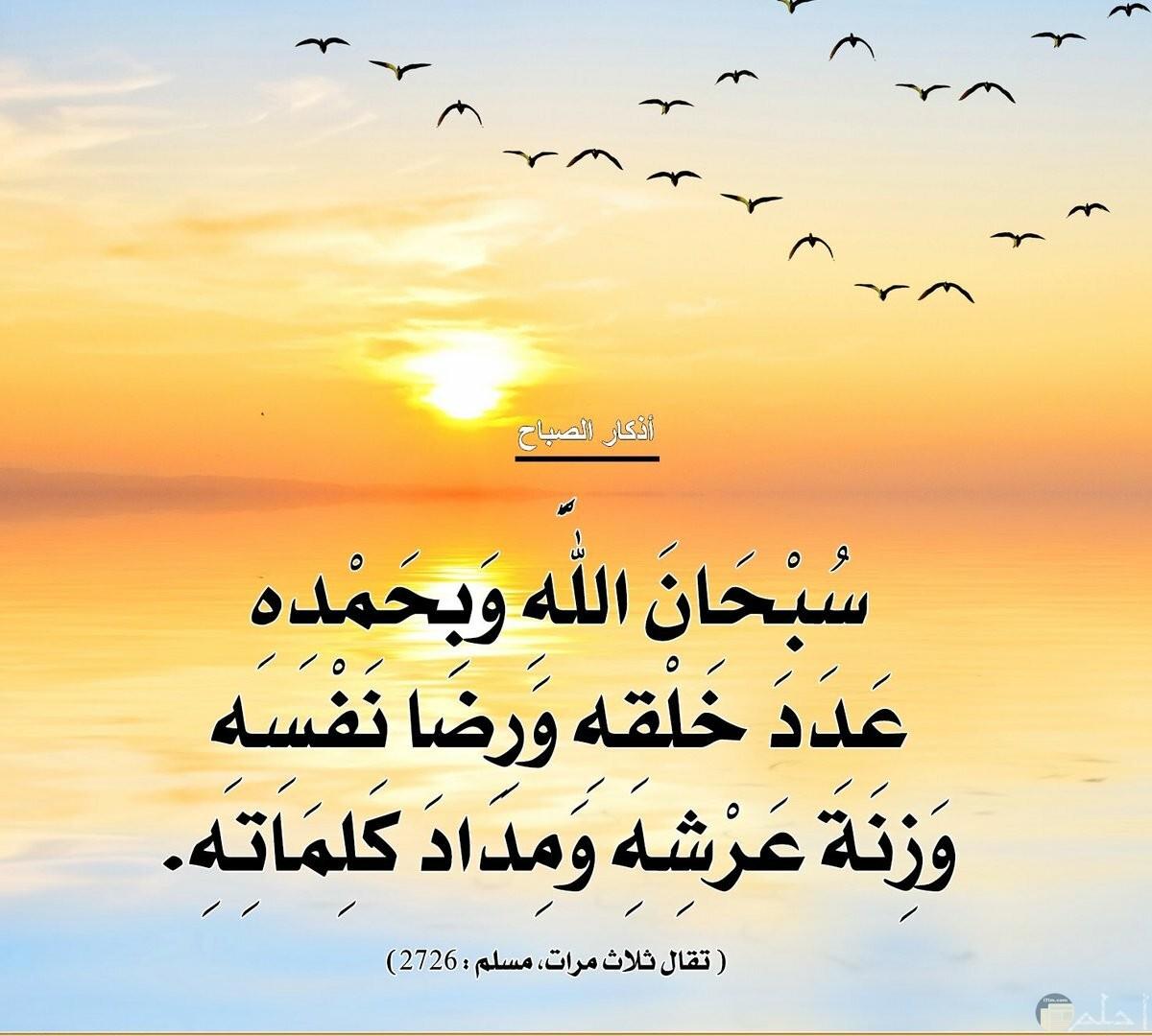 سبحان الله و بحمده عددخلقه و رضا نفسه و مداد كلماته.