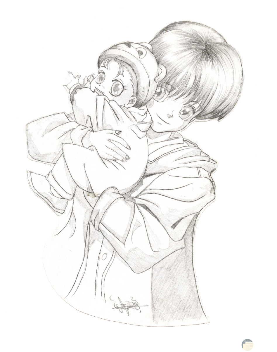 رسم لأنمي و لد يحمل طفل صغير جميلة معبرة عن حب الأخ لأخيه.
