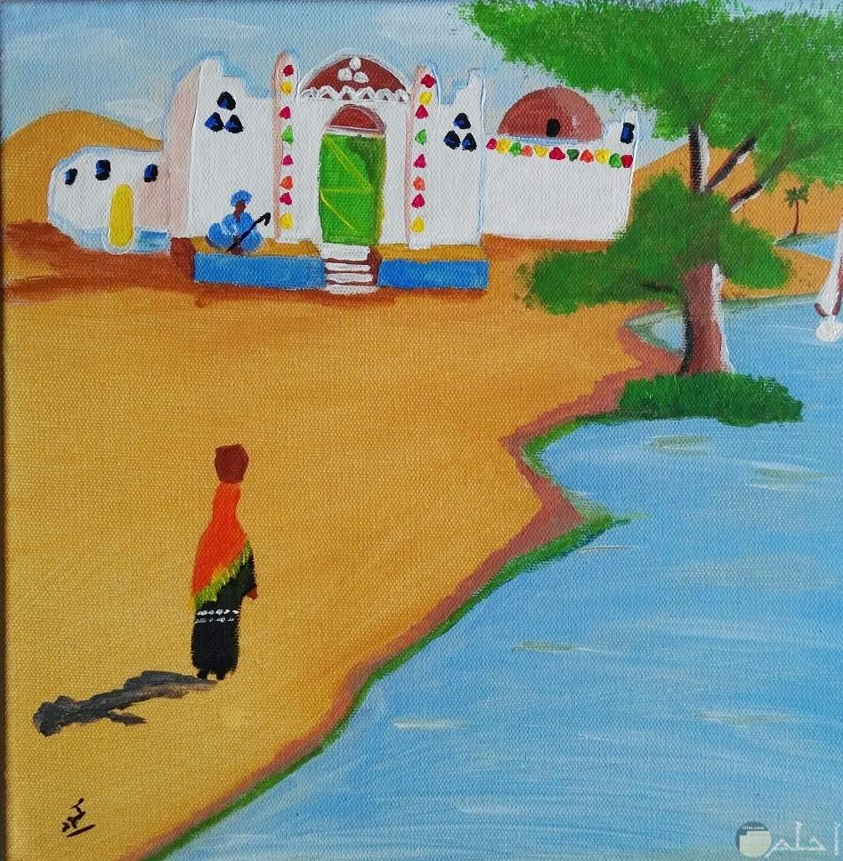 رسم لبيوت النوبة المصرية.