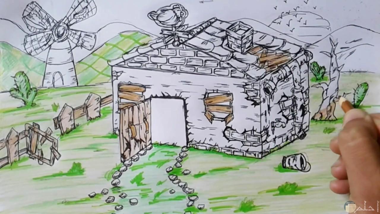 رسم لبيوت لها طابع الريف الأوروبي.