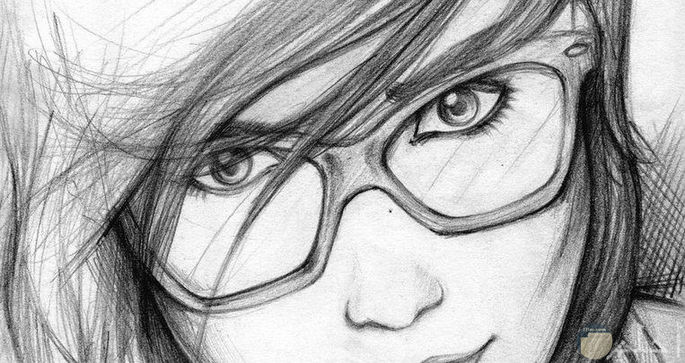 رسمة أنمي لفتاة بنظارة جميلة.