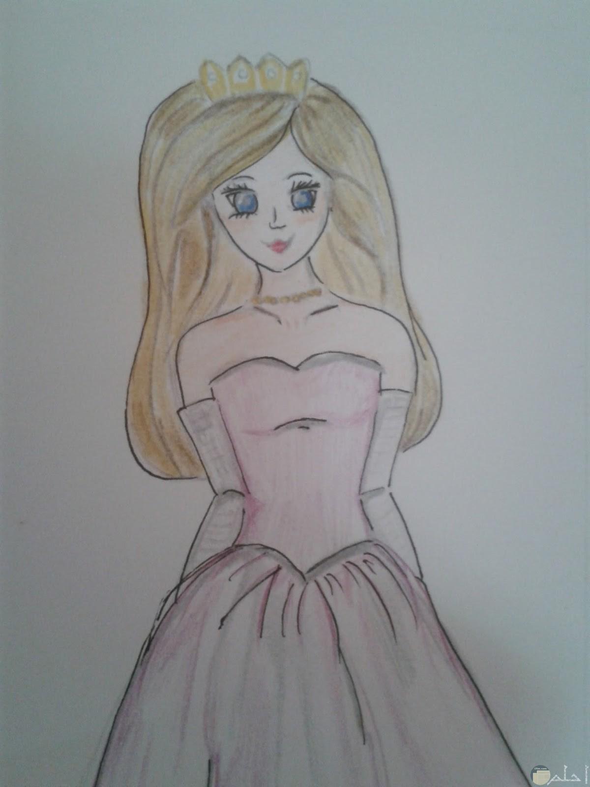 رسمة أنمي ملونة لفتاة جميلة ترتدي فستان.