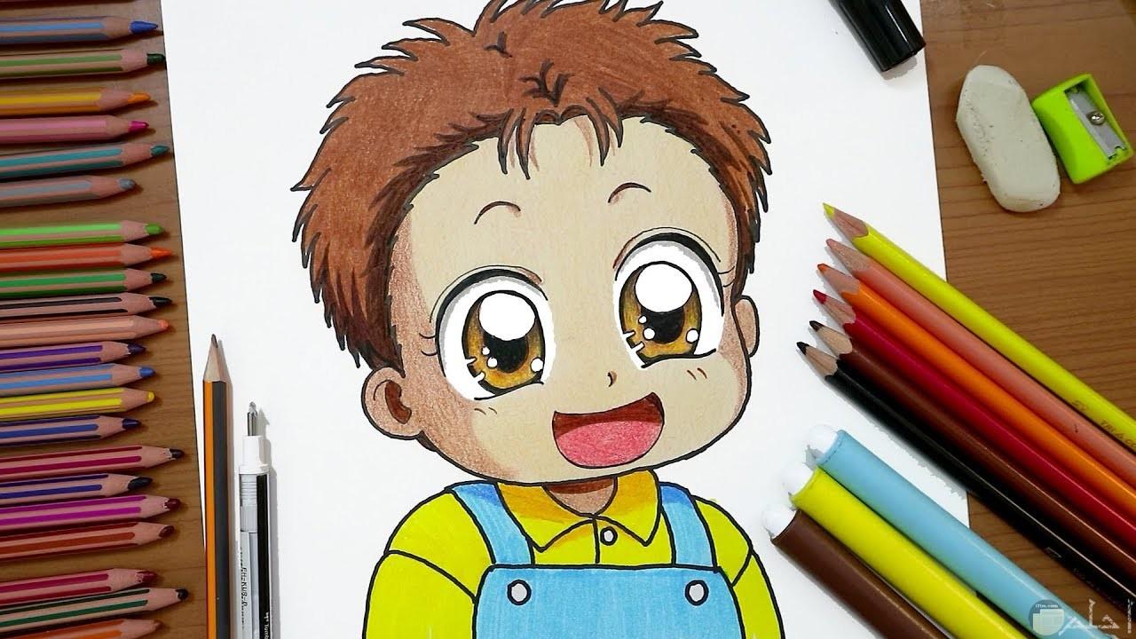 رسمة أنمي لطفل ملونة.